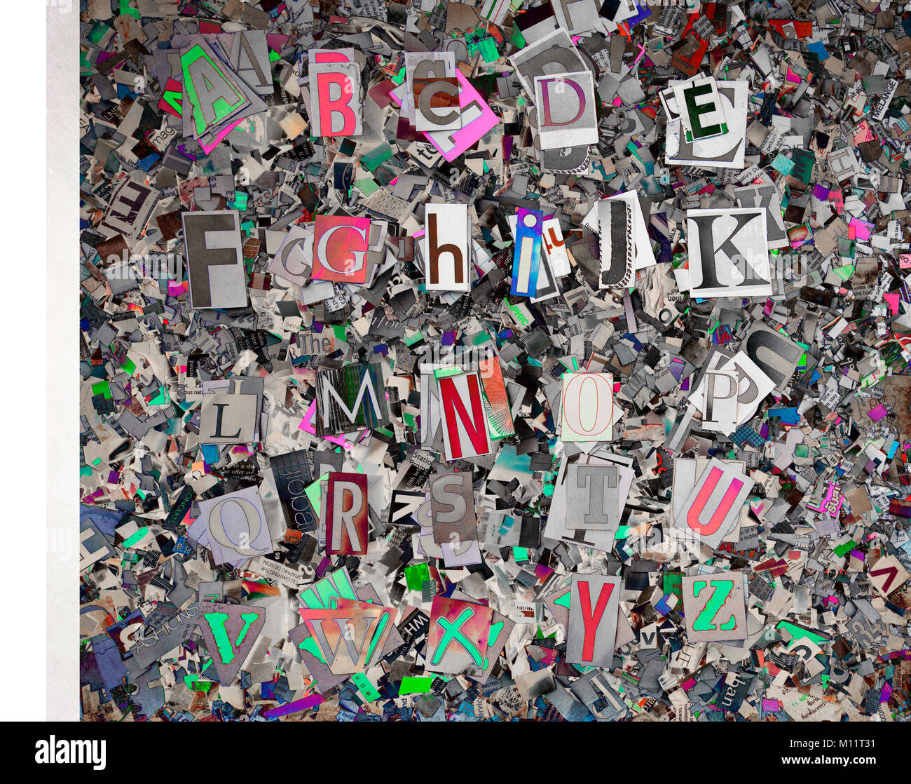 Handmade Collage Newspaper Alphabet Clippings Stock Photos