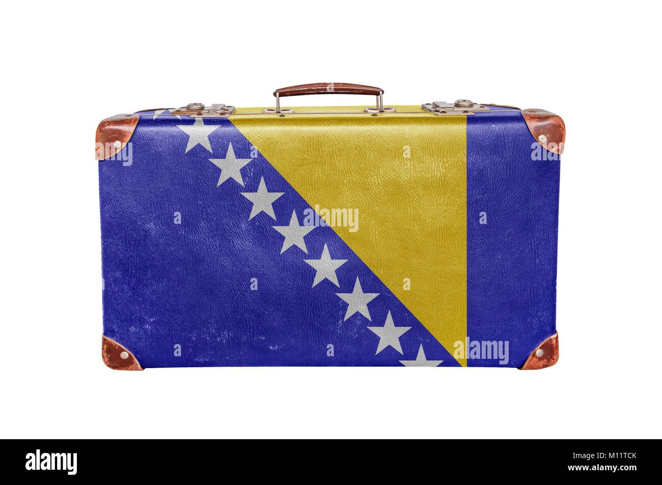 Vintage suitcase with Bosnia and Herzegovina flag - Stock Image