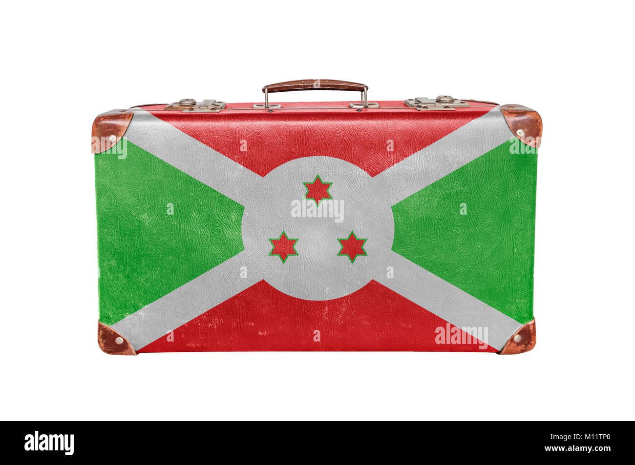 Vintage suitcase with Burundi flag Stock Photo