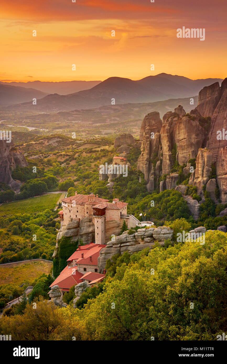 Monastery at Meteora at sunset, Greece - Stock Image