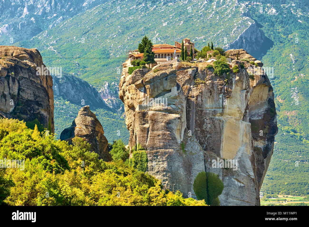 Monastery of the Holy Trinity, Meteora, Greece - Stock Image