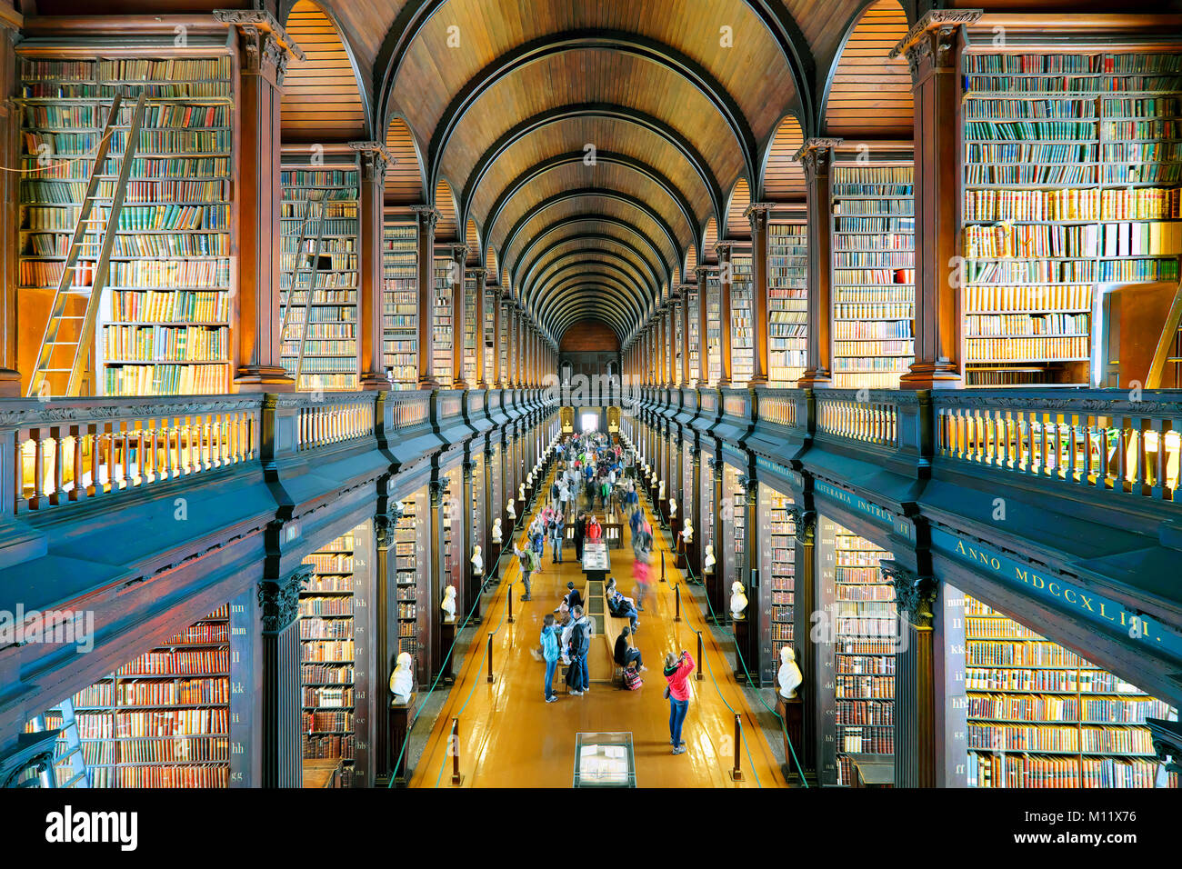 The Long Room, The Old Library, Trinity College, Dublin, Ireland - Stock Image