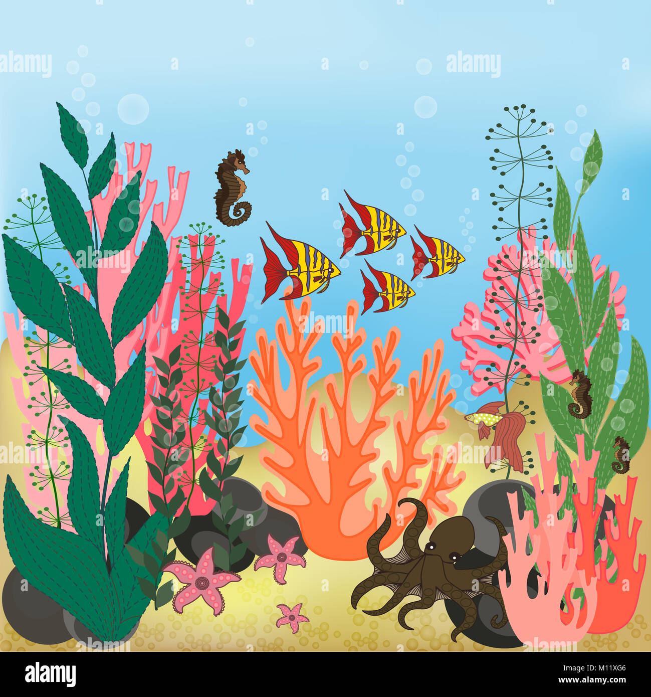 Underwater landscape with water plants and swimming fishes. Stock Photo
