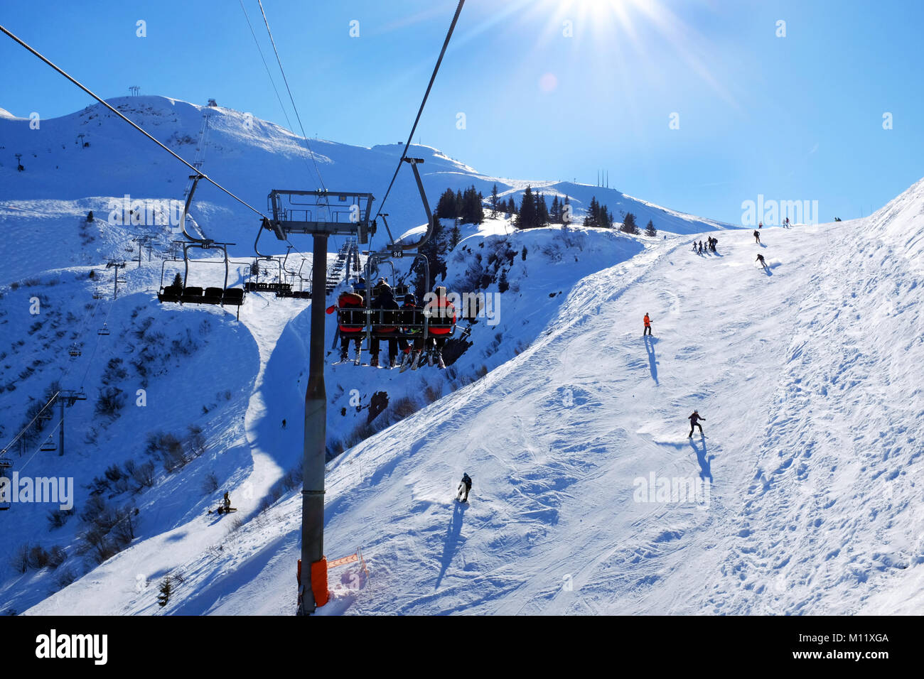 View Of Skiers From The Chair Lift On A Sunny Ski Piste Samoens France