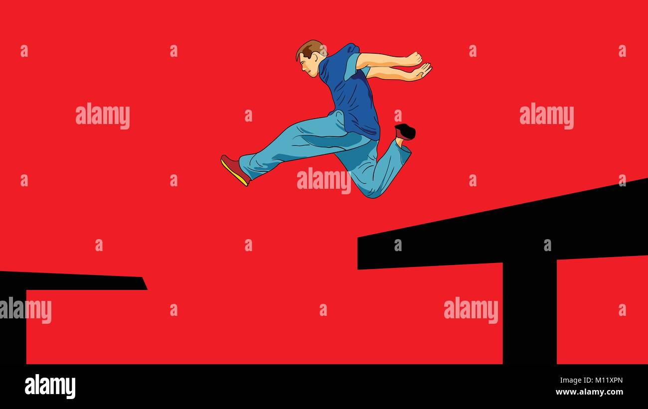 Man is jumping from roof to roof. Parkour. Active lifestyle. Courage and Adrenaline. Roofer. Vector illustration - Stock Image