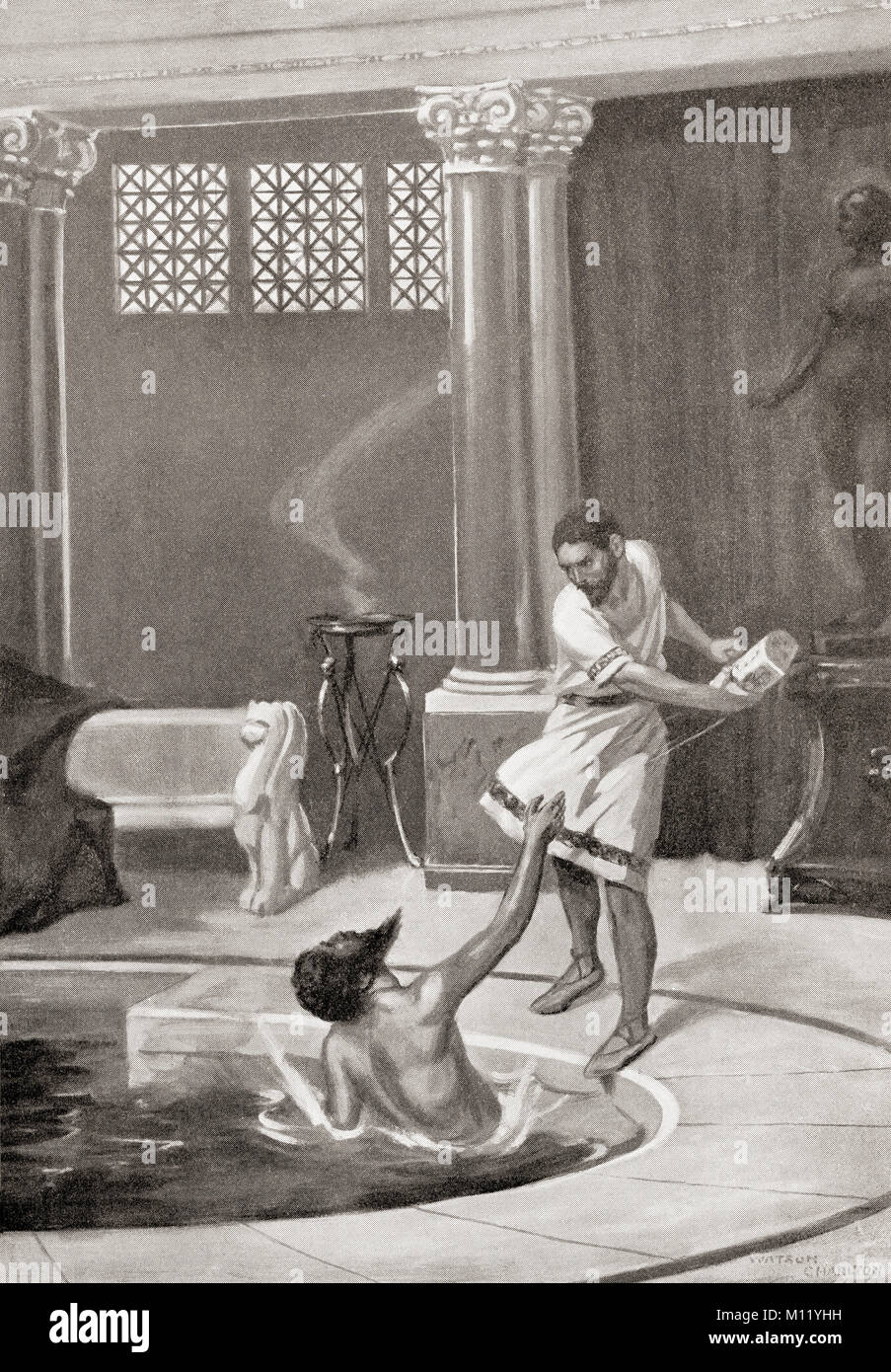 The death of Constans II, assassinated in his bath by his chamberlain, September 15, 668AD.  Constans II, 630 – - Stock Image