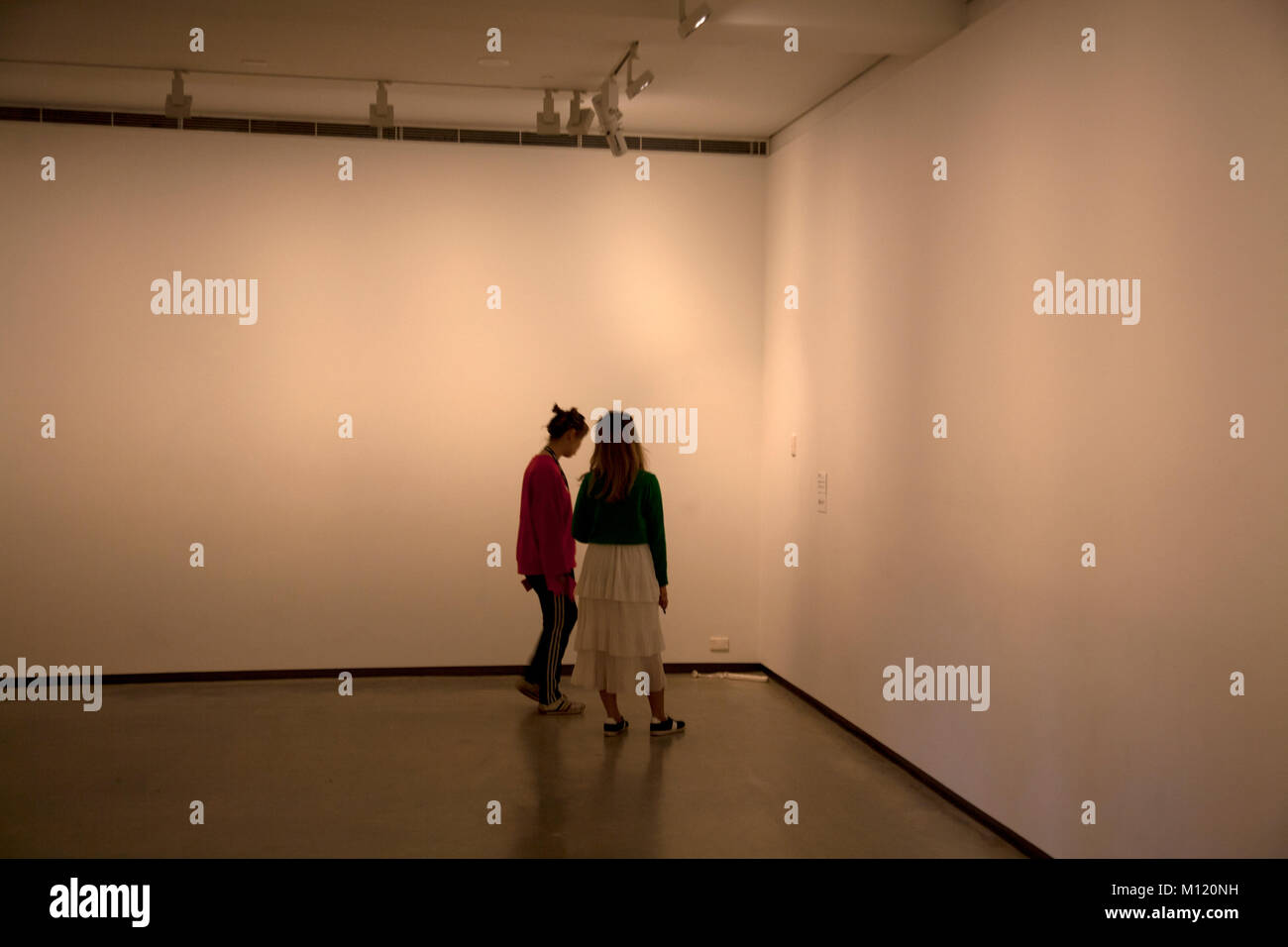 plug socket extension cable in gallery being viewed as exhibit museum of contemporary art  circular quay sydney Stock Photo