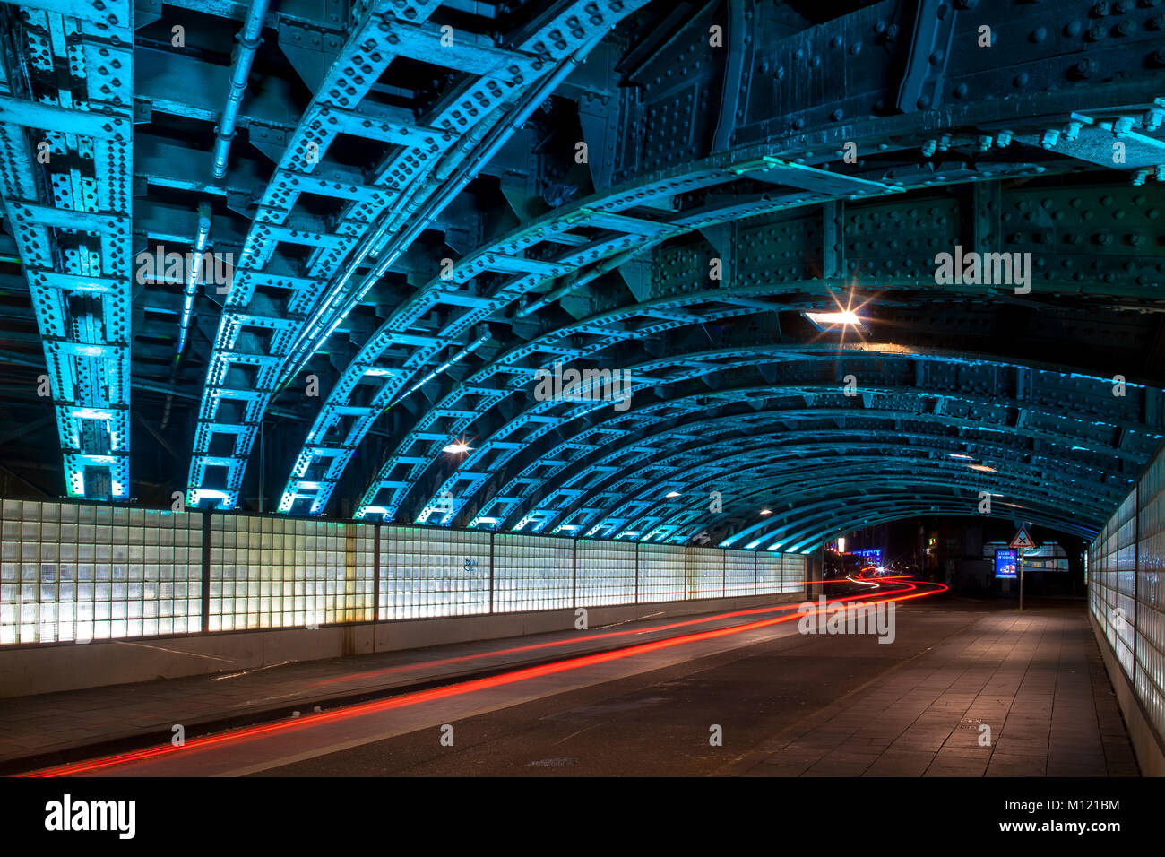 Germany, Cologne, illuminated railway underpass at the streets Eigelstein/Marzellenstrasse.  Deutschland, Koeln, - Stock Image