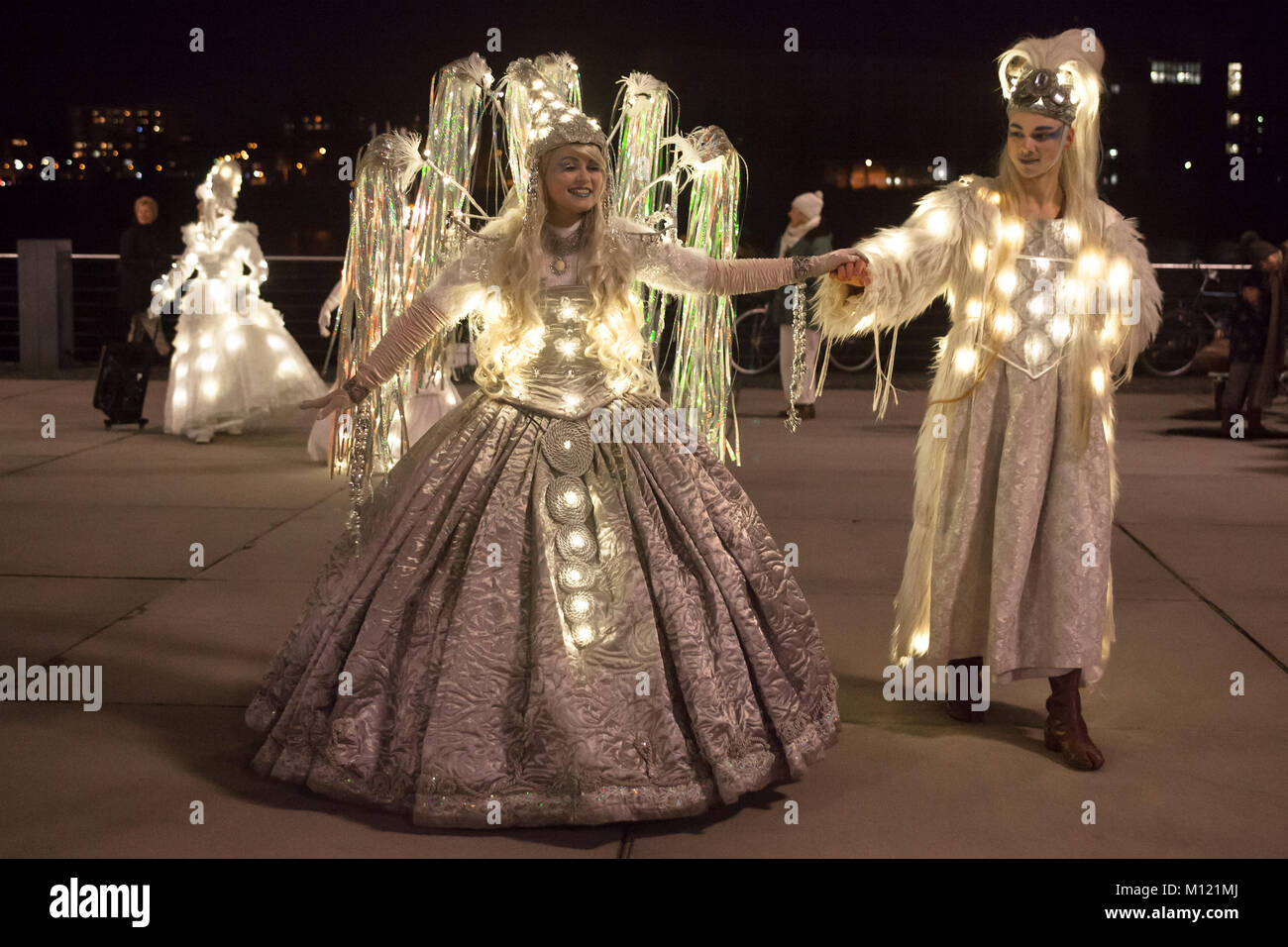 Germany, Cologne, the Christmas parade Vagalume at the Rheinau harbor, fairy, Christmas angel, gnomes and other Stock Photo