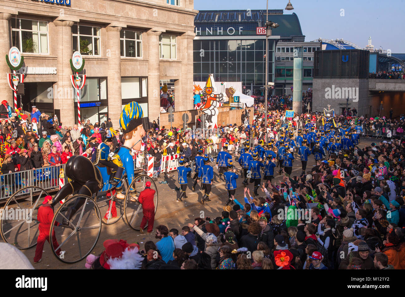 Germany, Cologne, carnival, Shrove Monday procession, the carnival society Treuer Husar at the cathedral.  Deutschland, - Stock Image