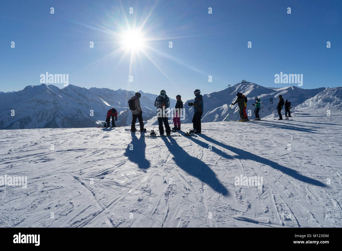 Skiers in the skiing area Penken Horberg,Mayrhofen,Zillertal,Tyrol,Austria - Stock Image