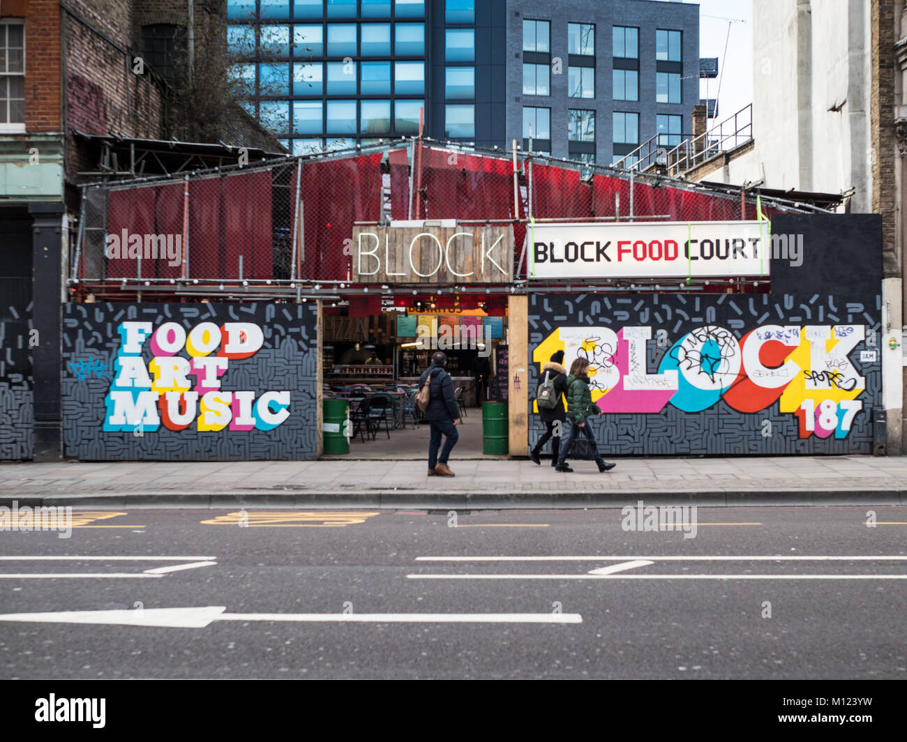Block Shoreditch Food Court - Street Food market in Shoreditch High St in fashionable Shoreditch East London - Stock Image
