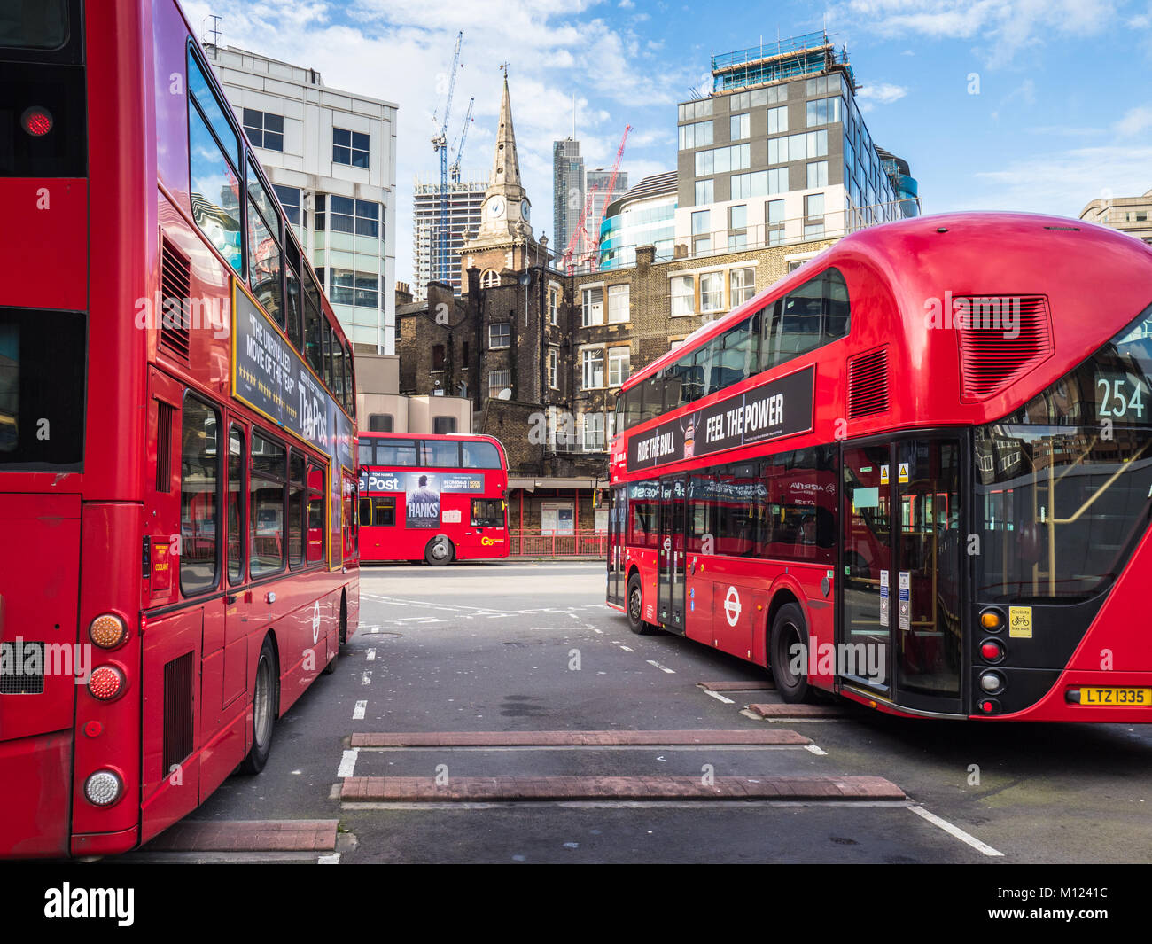 Aldgate Bus Station in the City of London Financial District, UK, owned and maintained by Transport for London TfL - Stock Image