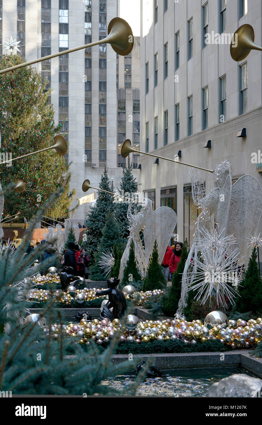Christmas Holiday decorations at Rockefeller Center.Manhattan.New York City.USA - Stock Image