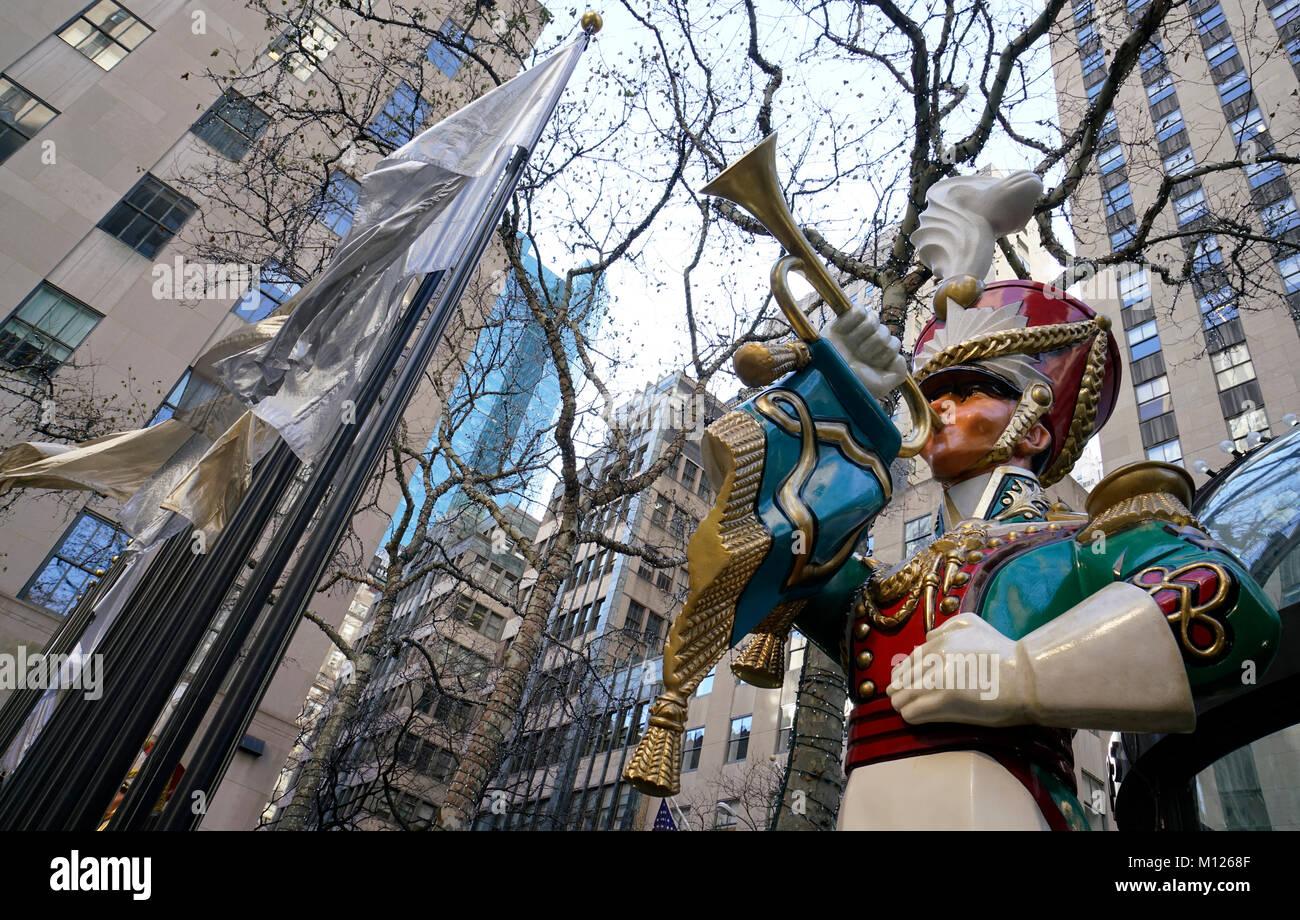 Christmas Holiday decorations at Rockefeller Center.Manhattan.New York City.USA Stock Photo