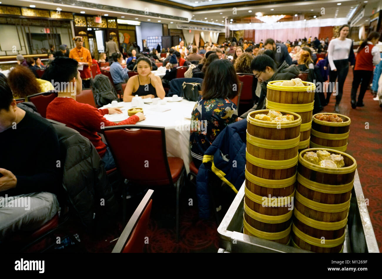 Dim Sum Carts Rolled Out In Crowded Jing Fong Chinese