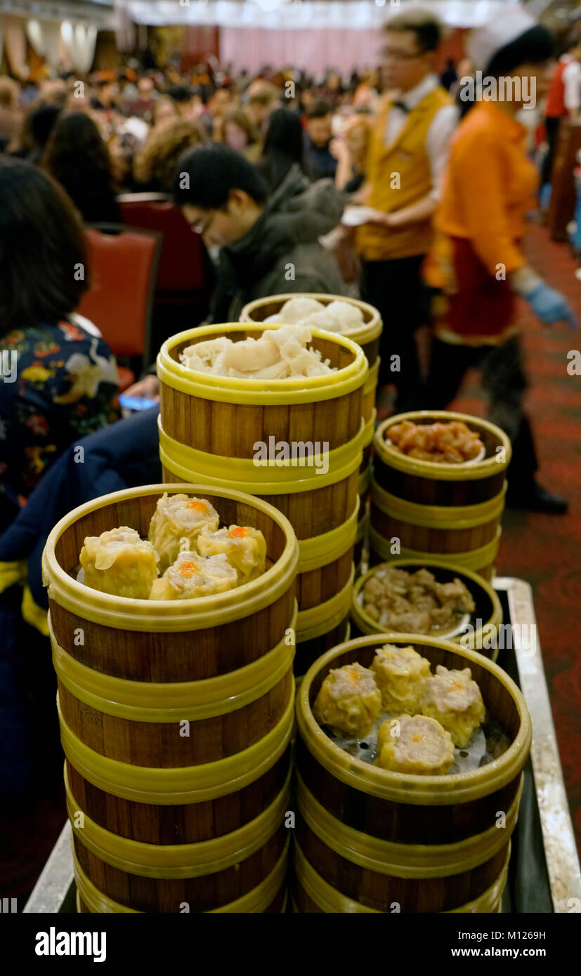 A Closed Up View Of Dim Sum In Crowded Jing Fong Chinese