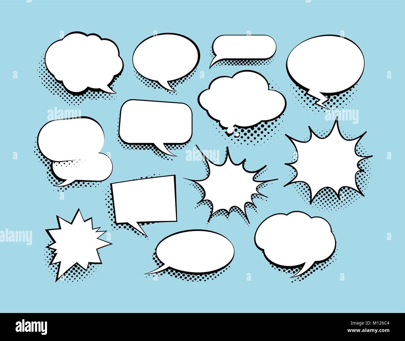 Set of comic art speech bubbles with halftone. Vector illustration - Stock Image