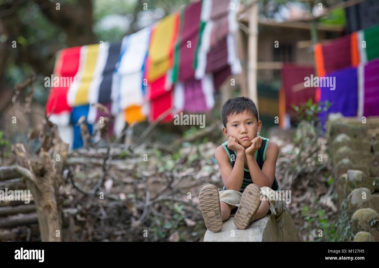 bangladeshi boy at a countryside - Stock Image