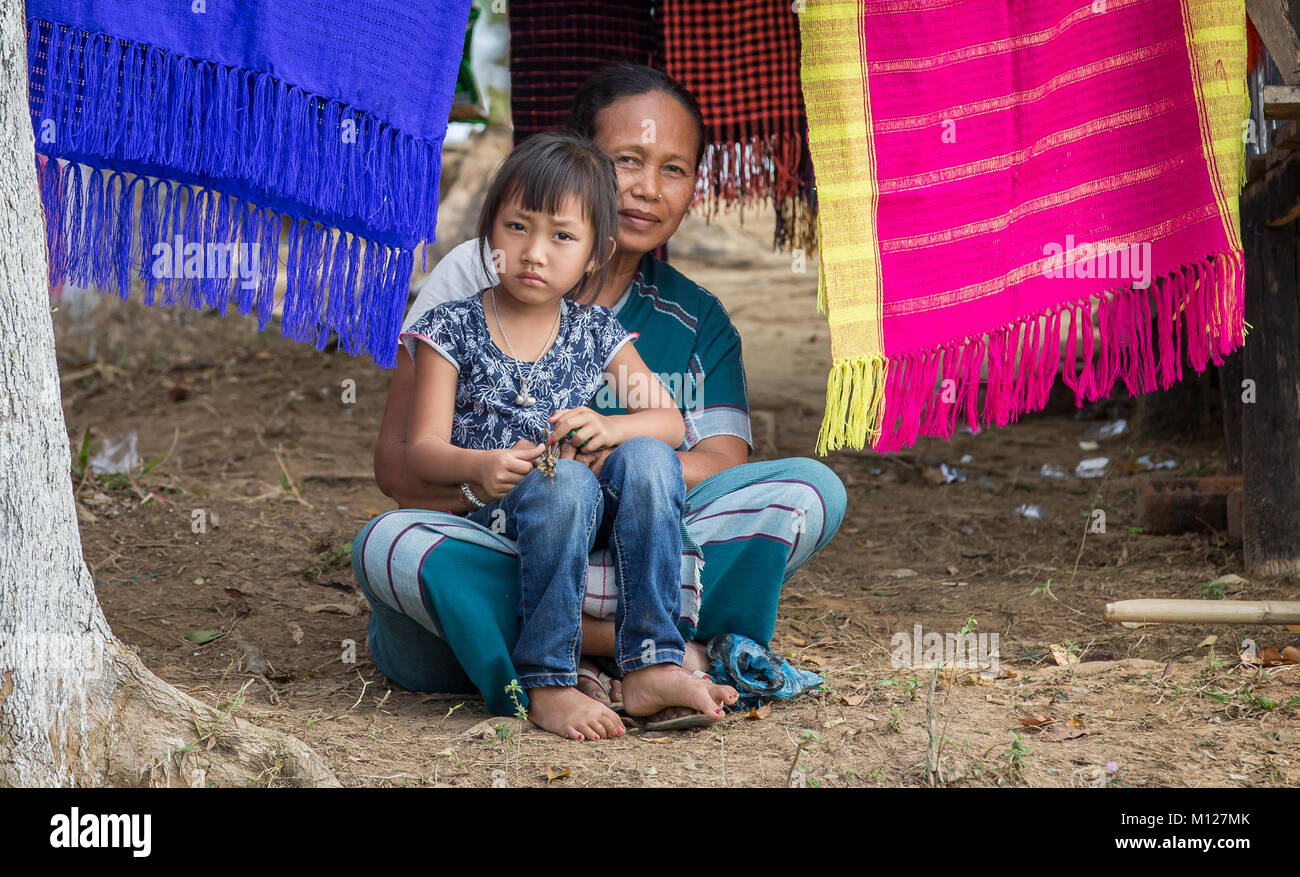 Bangladeshi mother with her kid at a countryside - Stock Image