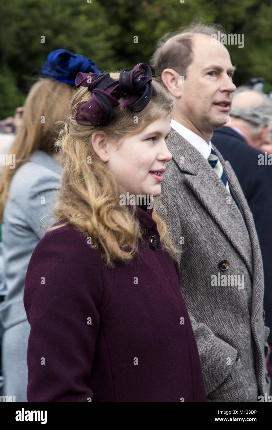 The British Royal family arrive at Sandringham to celebrate Christmas Day  Featuring: Prince Edward Where: Sandringham, - Stock Image