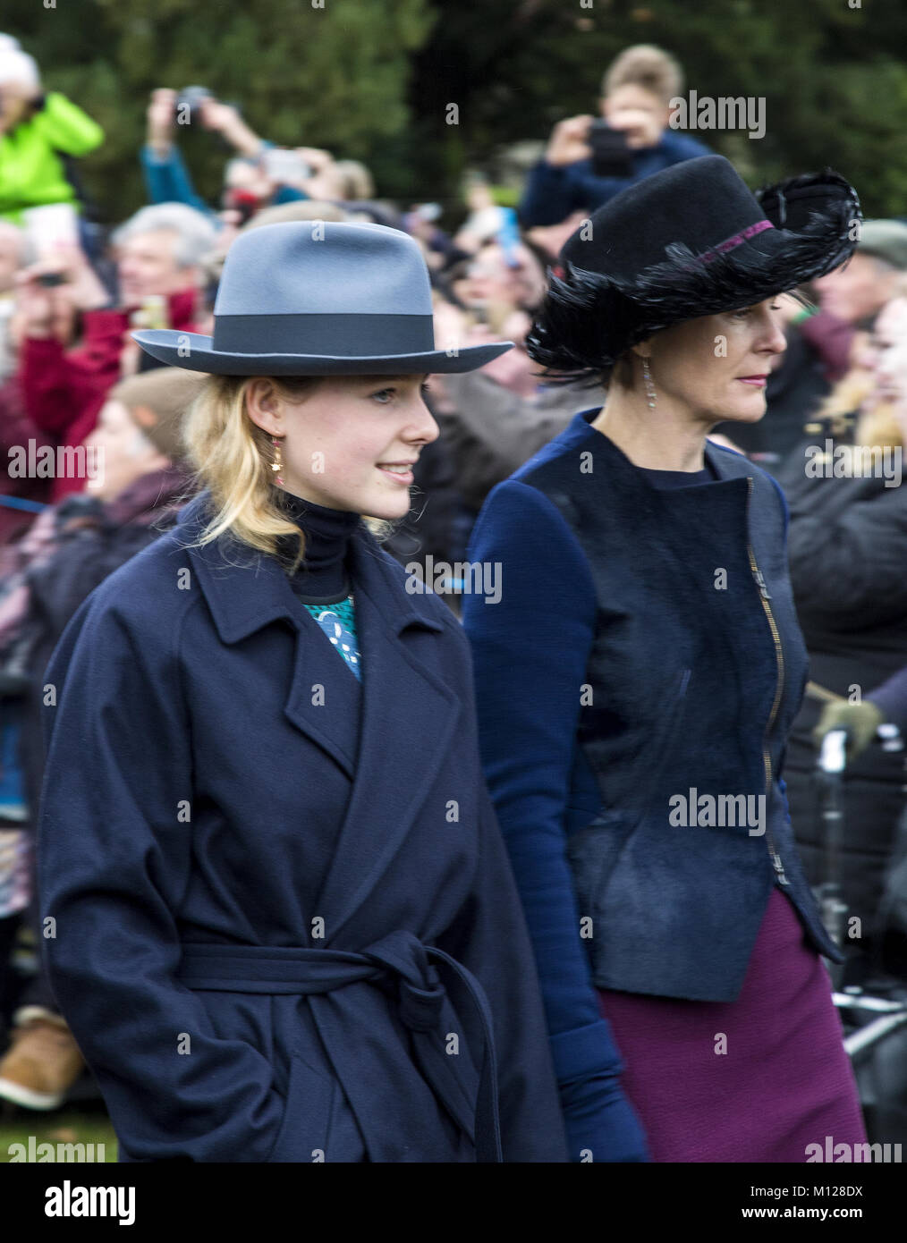 The British Royal family arrive at Sandringham to celebrate Christmas Day  Featuring: Royal Family Where: Sandringham, - Stock Image