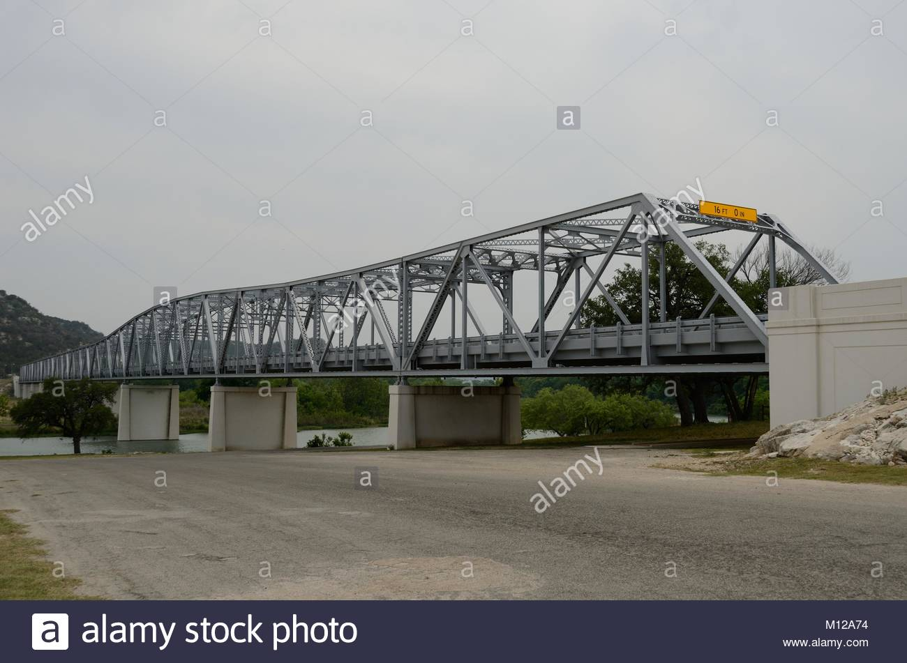 South Llano River Bridge in Junction, Kimble County, Texas in the western Texas Hill Country. On the National Register - Stock Image