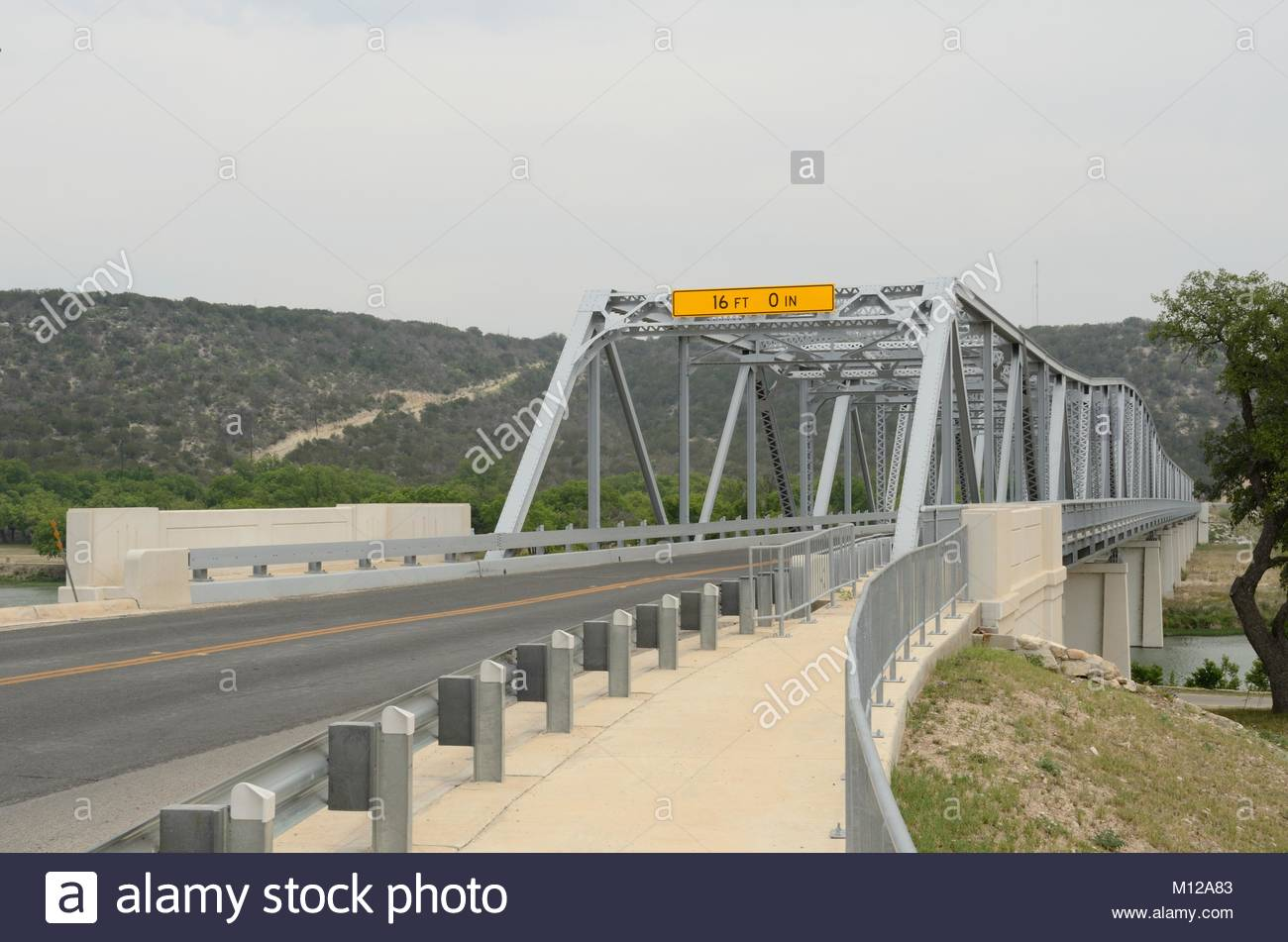South Llano River Bridge, Junction Texas. This Texas Historic Bridge is listed on the National Register of Historic - Stock Image