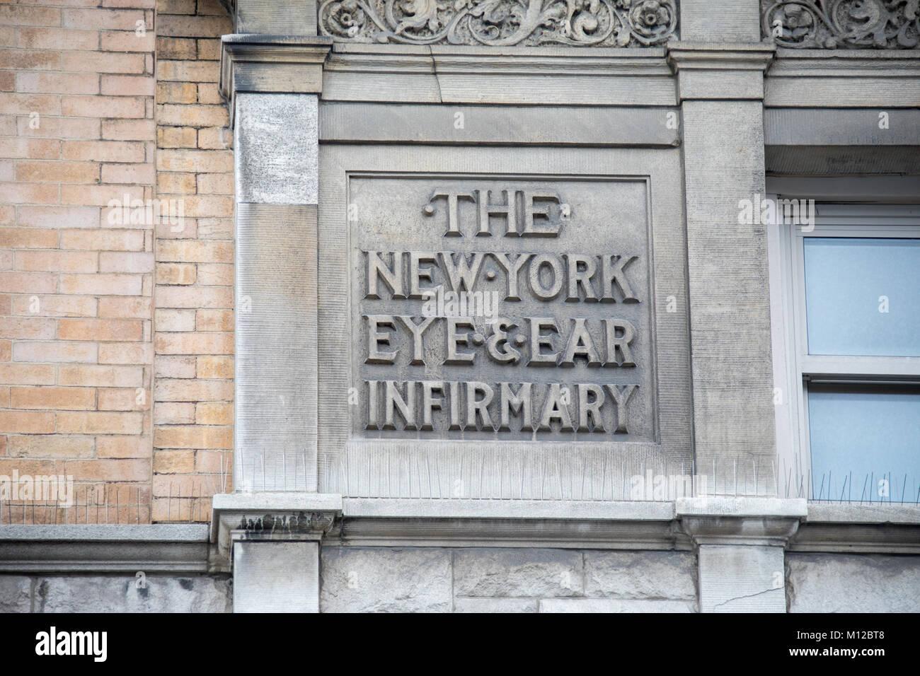 New York Eye and Ear Infirmary of Mount Sinai, East Village, New York City - Stock Image