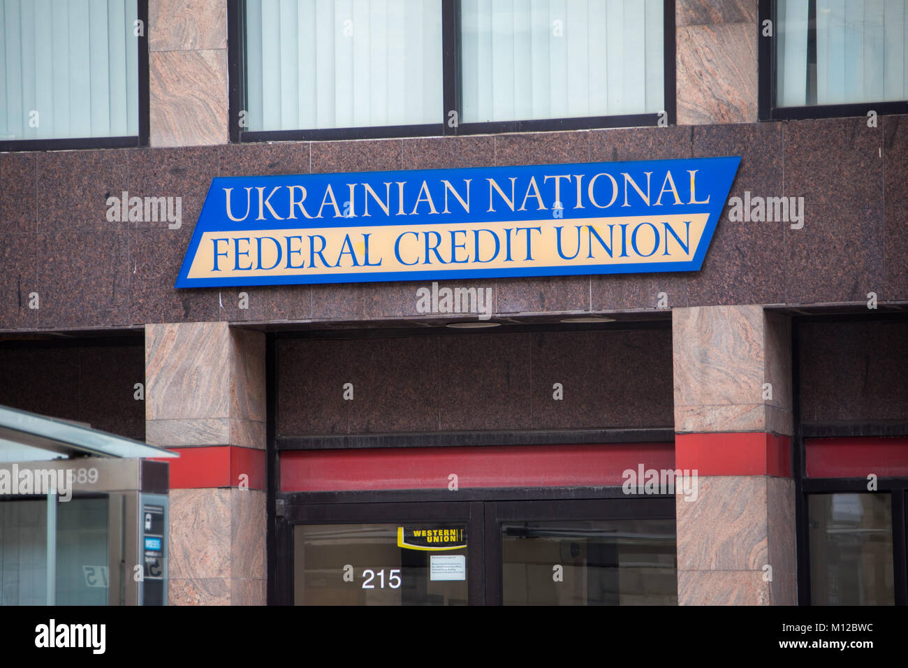 Ukranian National Fedral Credit Union, East Village, Manhattan, New York City - Stock Image