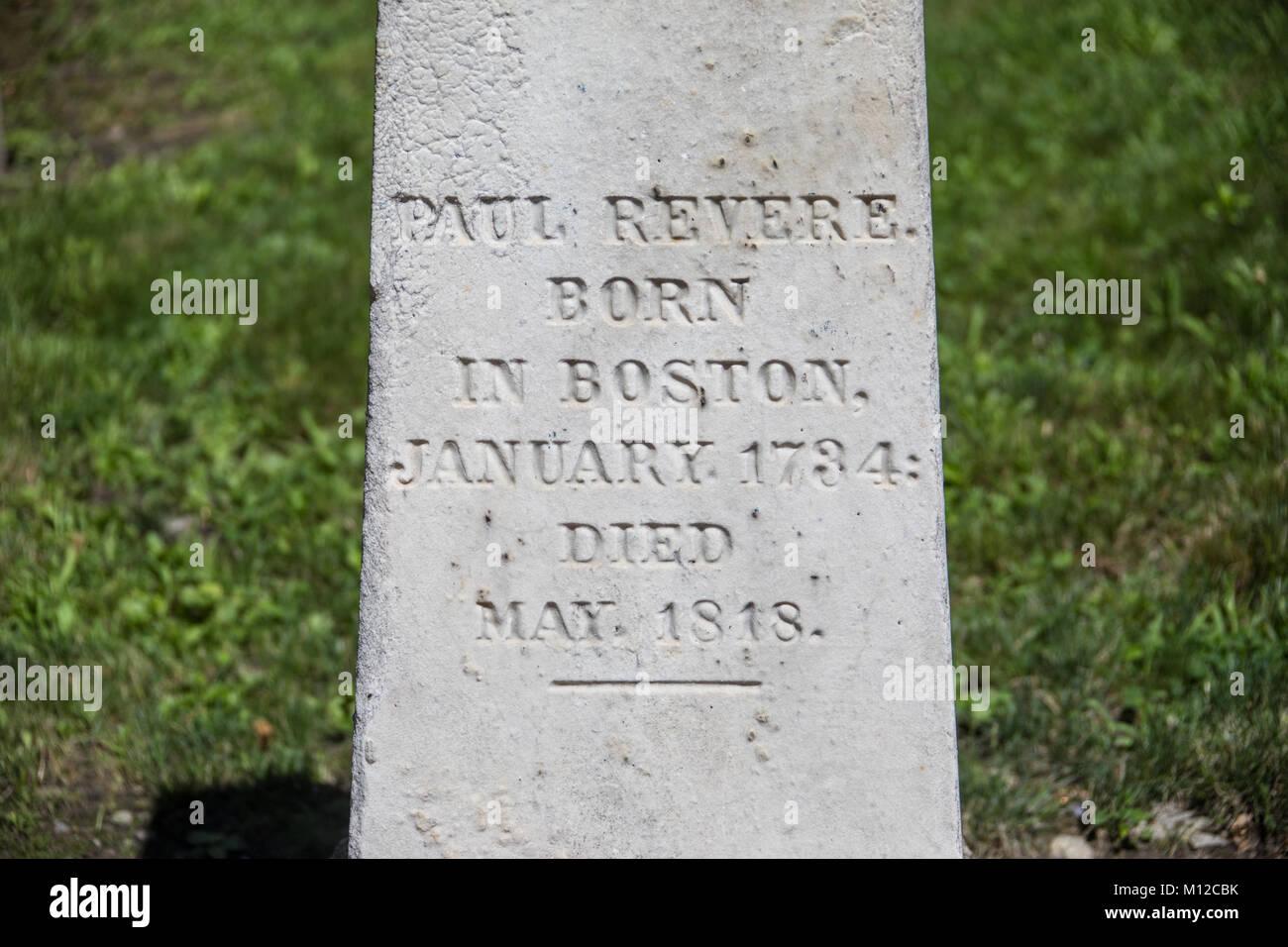 Grave marker of Paul Revere, Granary Burying Ground, Boston, MA, USA Stock Photo