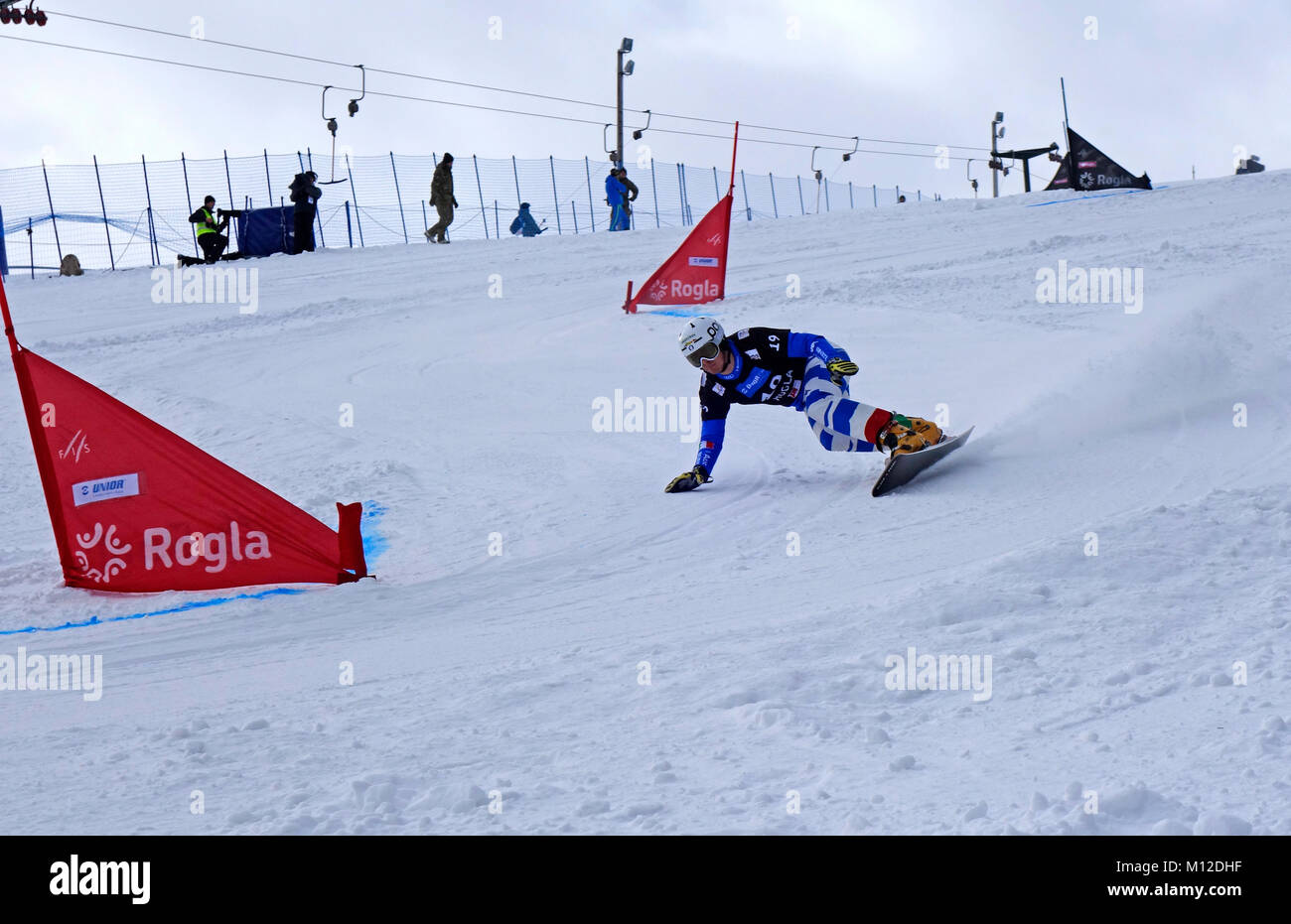 Snowboard Giant Slalom Competition.  Rogla ski resort, Slovenia. - Stock Image