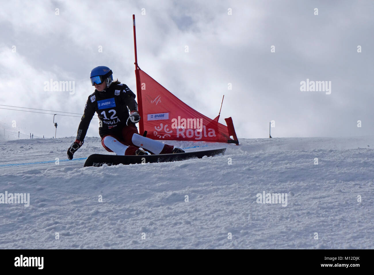 Stefanie Mueller of Switzerland competes in the Snowboard Ladies' Parallel Giant Slalom Qualification. Rogla - Stock Image