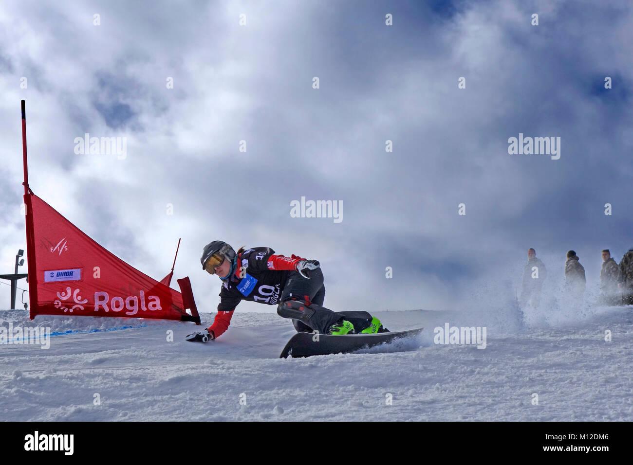 Snowboard Giant Slalom Competition. Rogla ski resort, Slovenia. - Stock Image