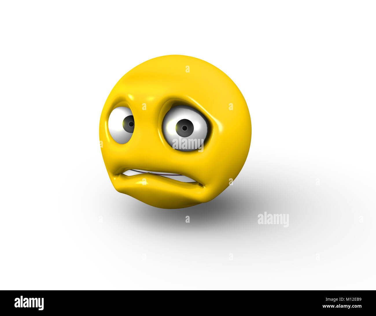 3D sad and scared Emoji with Raised Brows - Stock Image