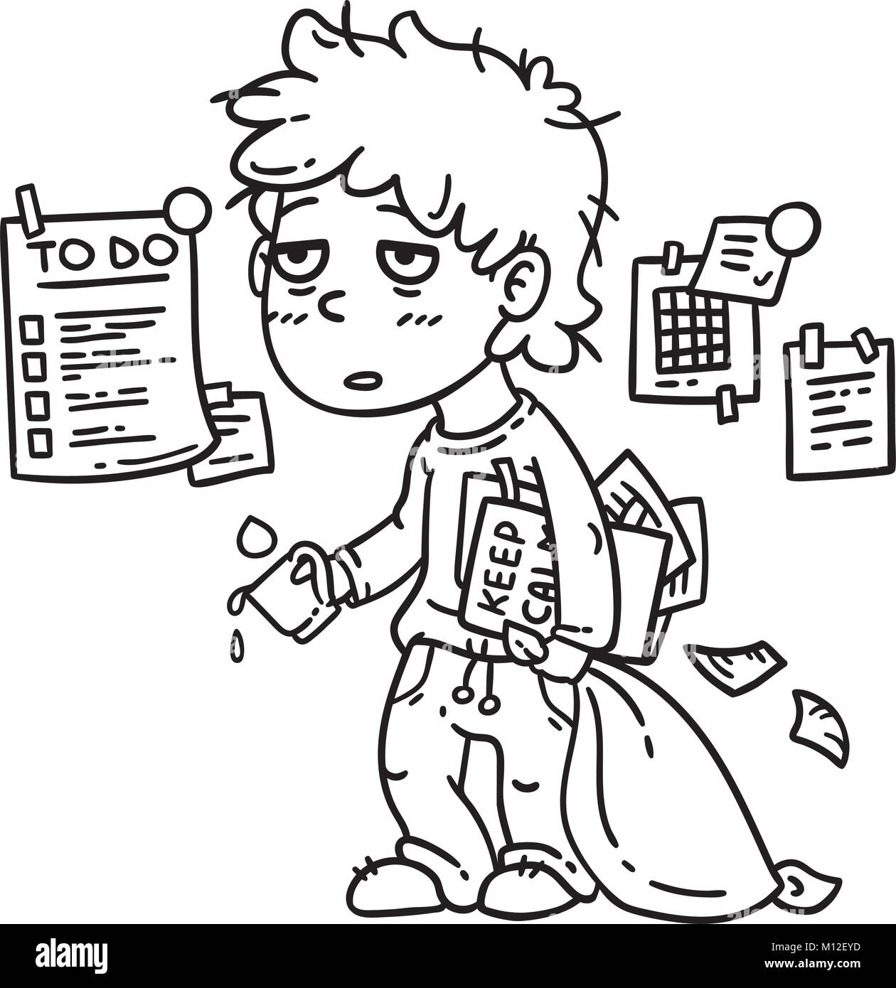 Hard Work Man Tired Business Working Isolated Objects On White Background Vector Illustration Coloring Page