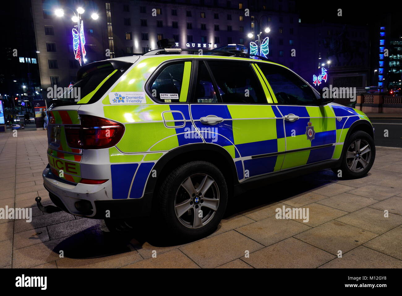 Police Car At Leeds City Square - Stock Image