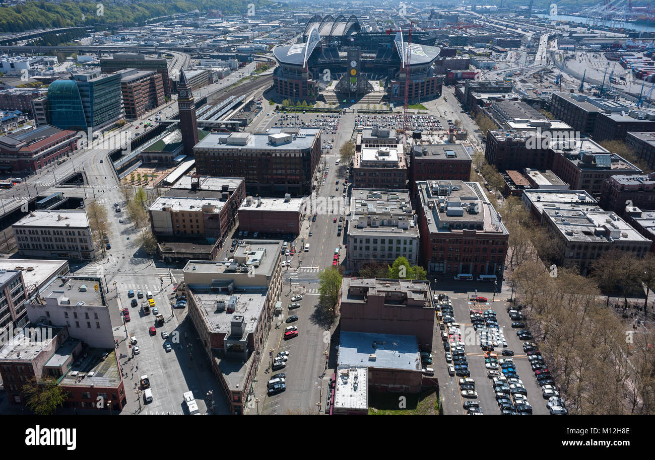 Seattle street scene from the air. - Stock Image