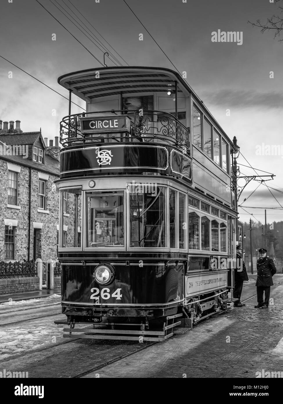 STANLEY, COUNTY DURHAM/UK - JANUARY 20 : Old Tram at the North of England Open Air Museum in Stanley, County Durham - Stock Image