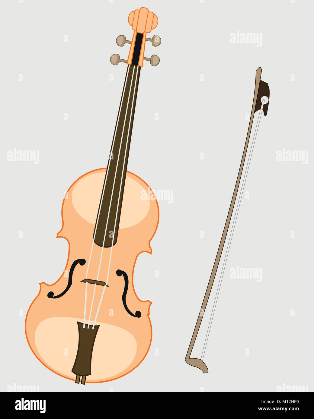 Music instrument violin and joining - Stock Vector
