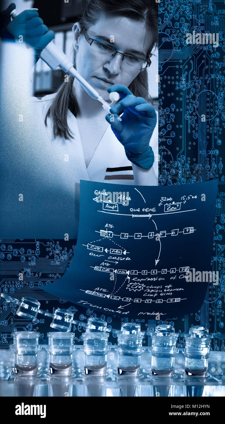 Modern molecular biologist, collage - Stock Image