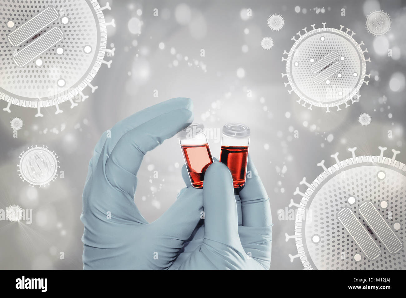 Gloved hands hold liquid samples on background with flu virus particles, text space - Stock Image