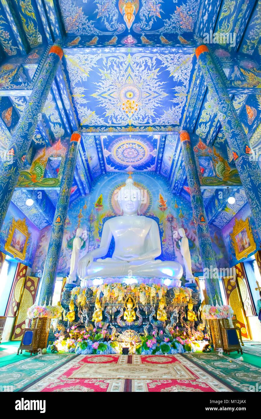 Beautiful buddha image in Wat Rong Sua Ten or Rong Sua Ten temple. - Stock Image