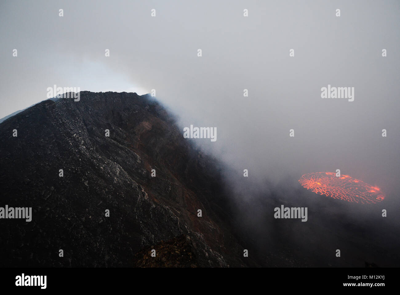 Nyiragongo volcano in the Virunga mountains, D.R.C - Stock Image