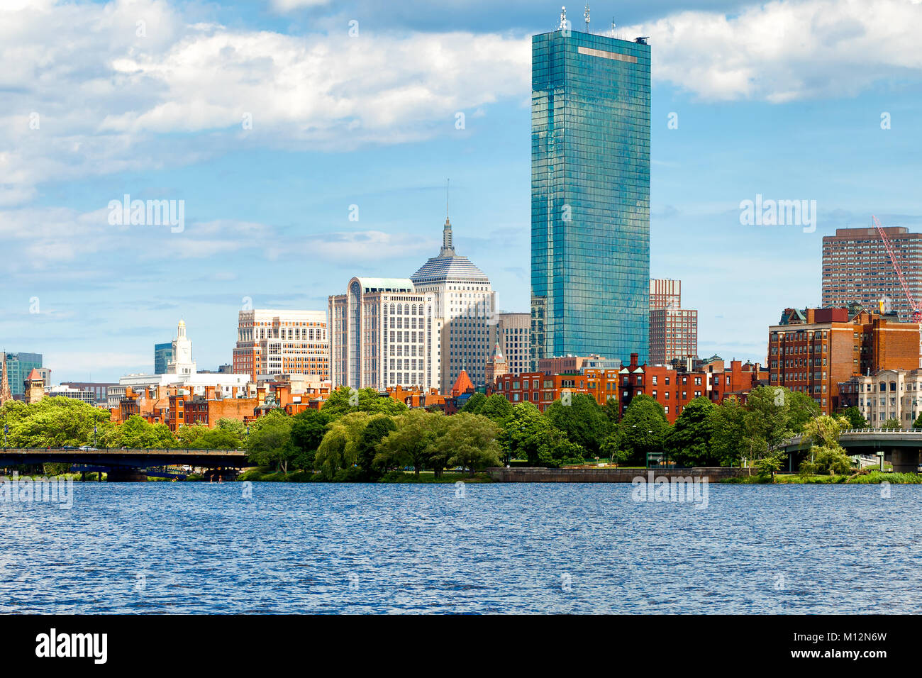 Boston skyline, waterfront and historic Bay Bay neighborhood viewed from the Charles River. Stock Photo