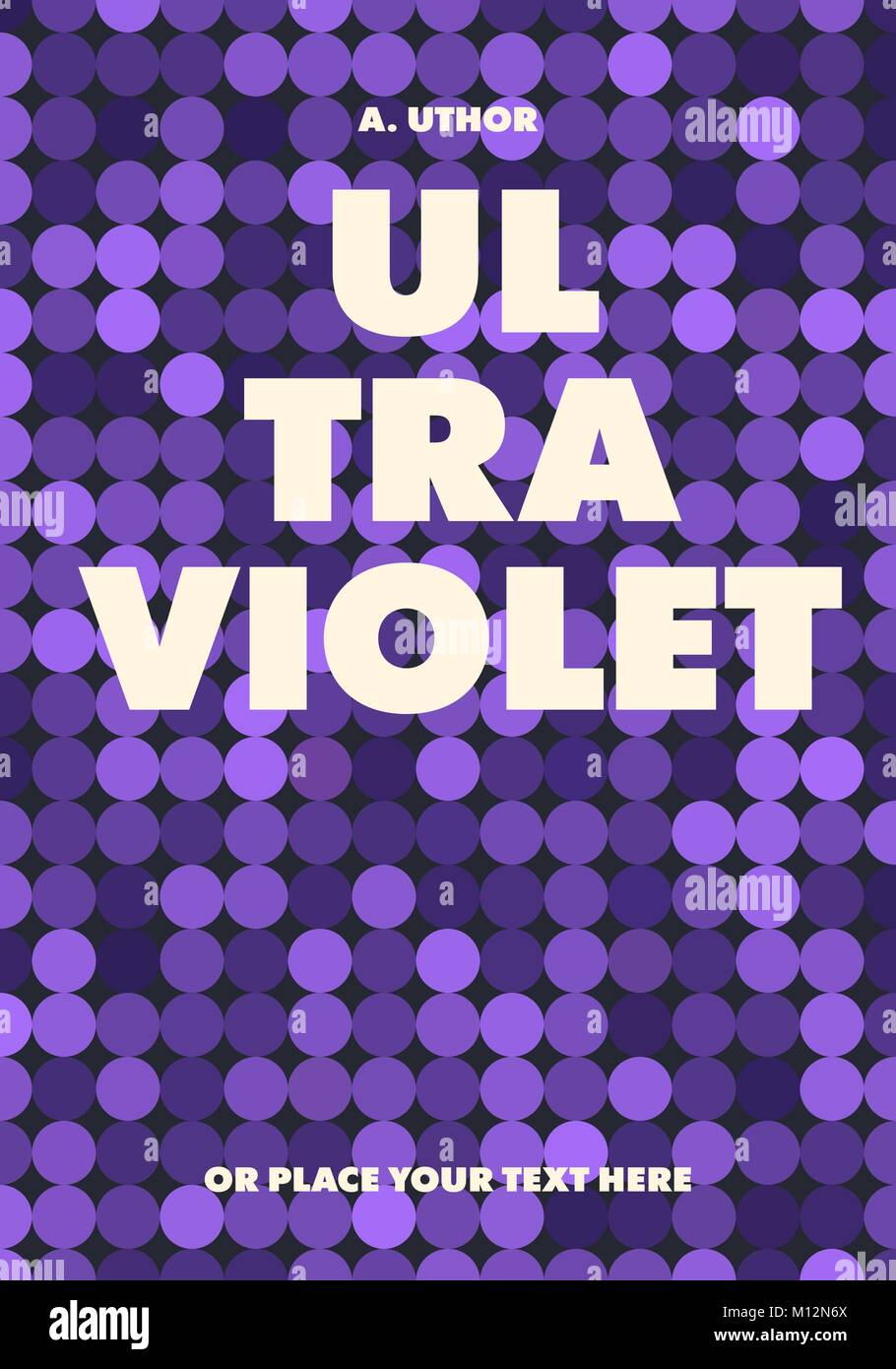 Abstract trendy book cover design. Violet circles pattern. Applicable for books, posters, placards etc. Clipping - Stock Image