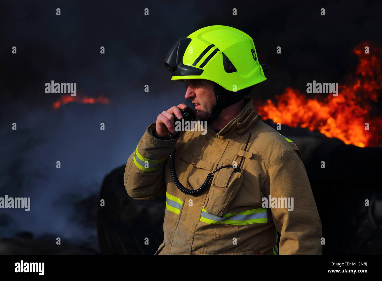 Fireman In Action - Stock Image