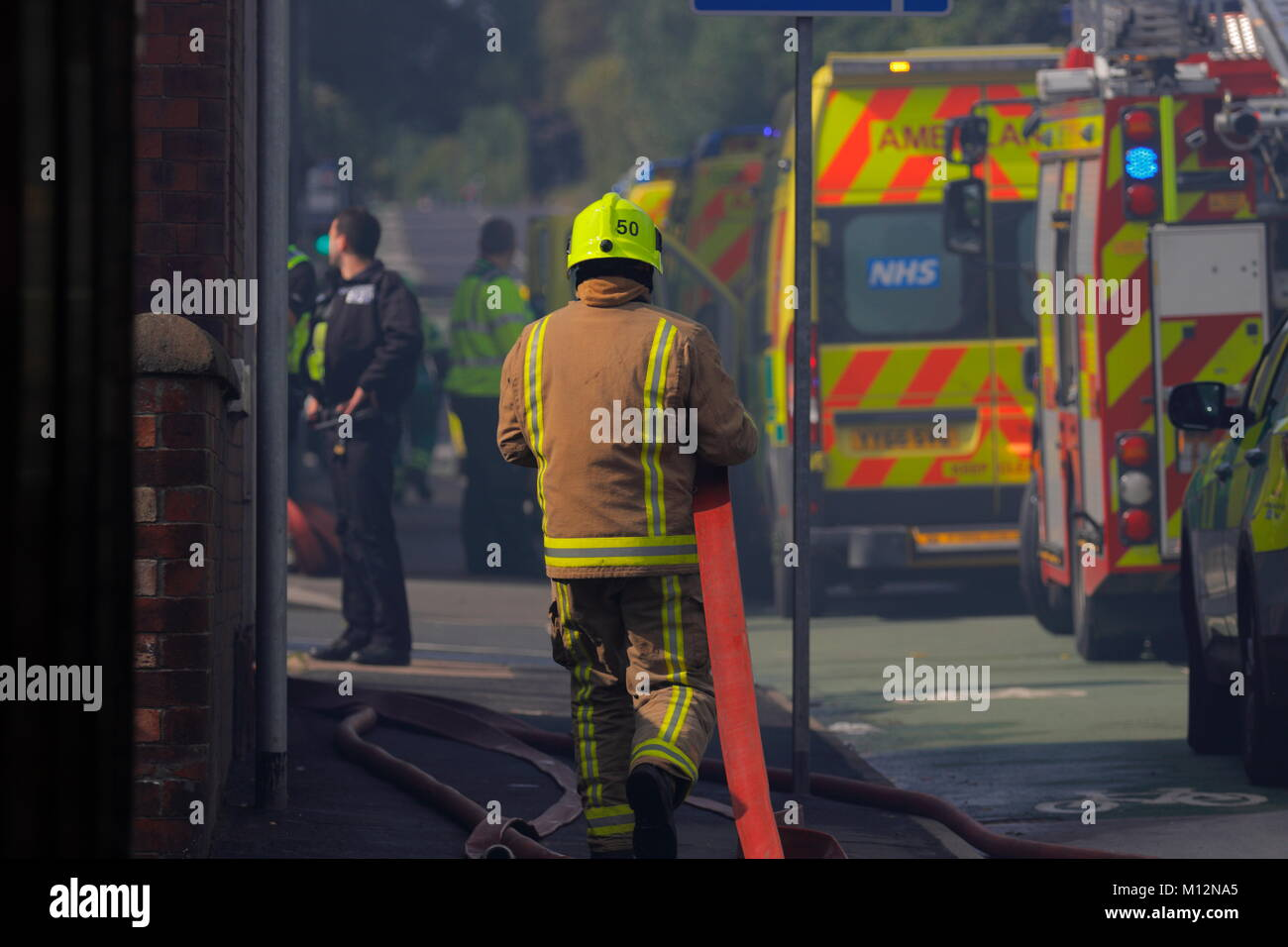 Emergency Services at the dcene of a Bingo Hall fire in Armley, Leeds. - Stock Image
