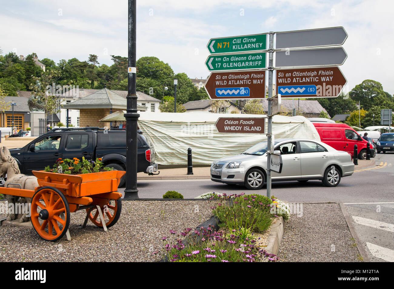 Road sign Bantry West Cork Ireland - Stock Image
