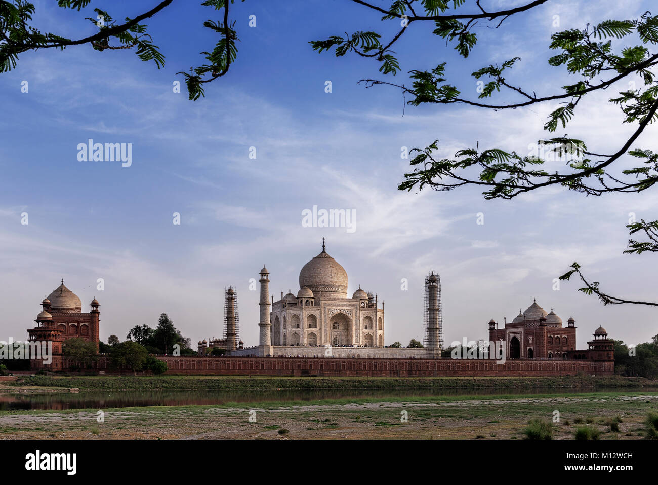 Iconic view of Taj Mahal one of the World Wonders, Agra, India - Stock Image